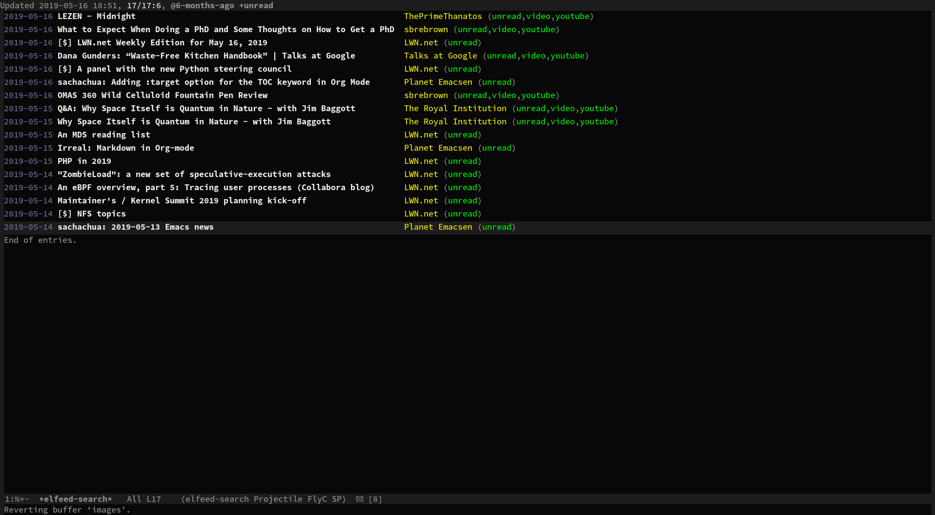 YouTube Subscriptions in Emacs with elfeed